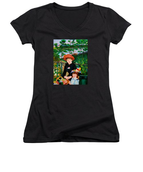 Women's V-Neck T-Shirt (Junior Cut) featuring the painting Version Of Renoir's Two Sisters On The Terrace by Cyril Maza