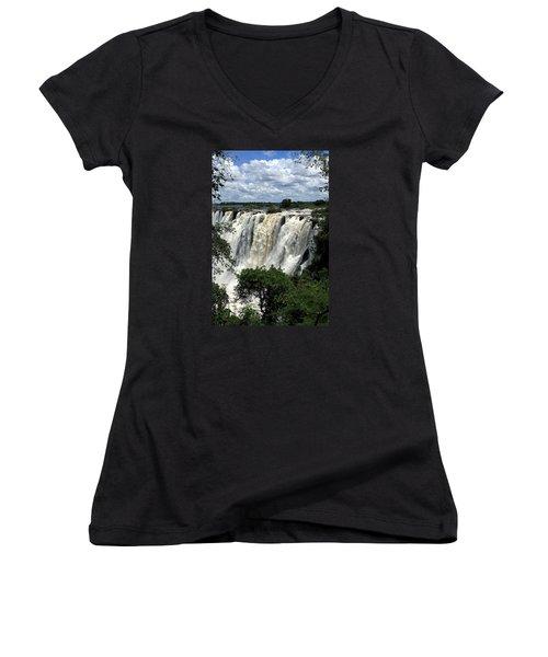 Victoria Falls On The Zambezi River Women's V-Neck T-Shirt (Junior Cut) by Aidan Moran