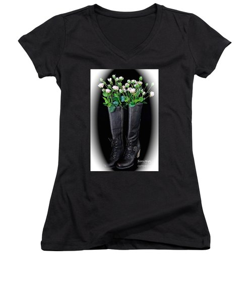 Victorian Black Boots Women's V-Neck (Athletic Fit)