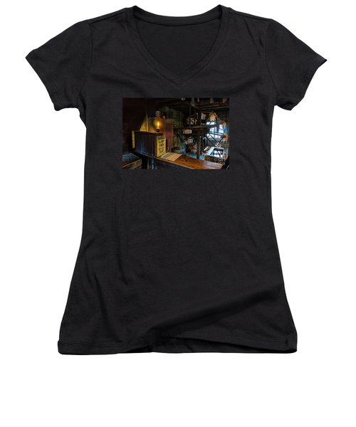 Victorian Candle Factory Women's V-Neck T-Shirt (Junior Cut) by Adrian Evans