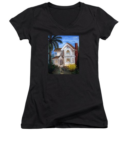 Women's V-Neck T-Shirt (Junior Cut) featuring the painting Victorian House by LaVonne Hand