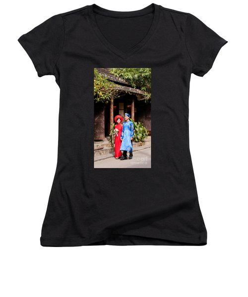 Vietnamese Wedding Couple 01 Women's V-Neck (Athletic Fit)