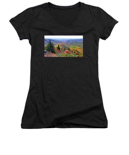 View From Devil's Courthouse Rock Women's V-Neck T-Shirt