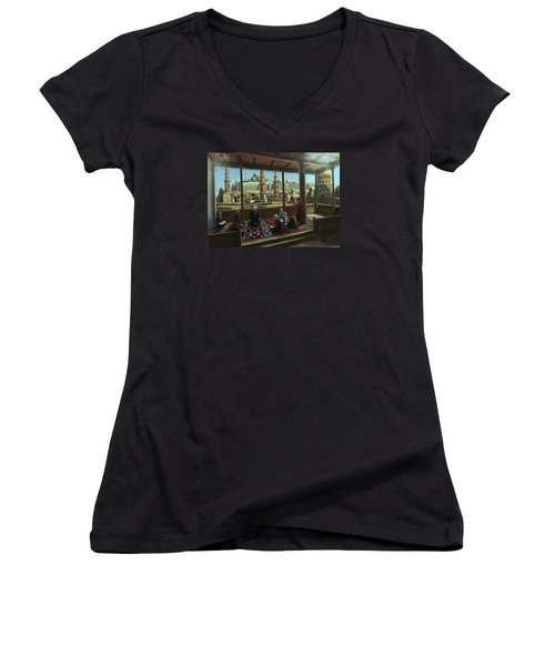 Women's V-Neck T-Shirt (Junior Cut) featuring the painting View From Egypt by Laila Awad Jamaleldin
