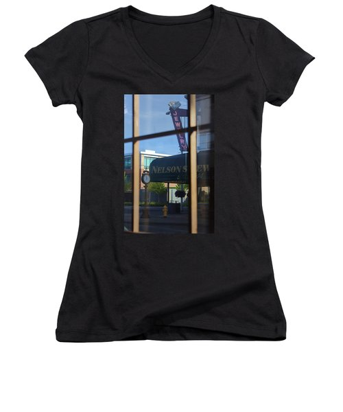 View From The Window Auburn Washington Women's V-Neck T-Shirt (Junior Cut) by Cathy Anderson
