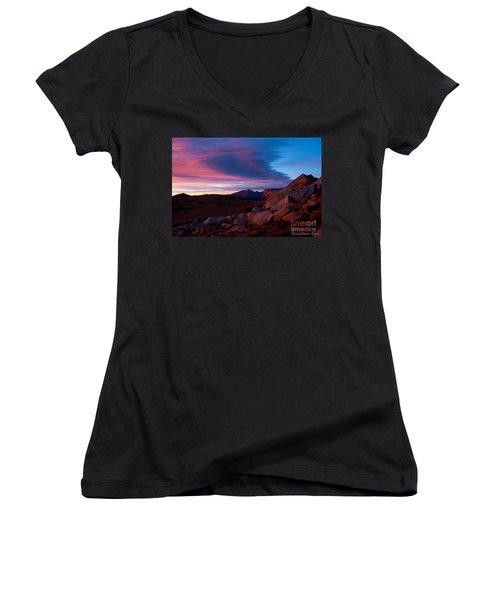 View To Long's Peak Women's V-Neck T-Shirt (Junior Cut) by Steven Reed