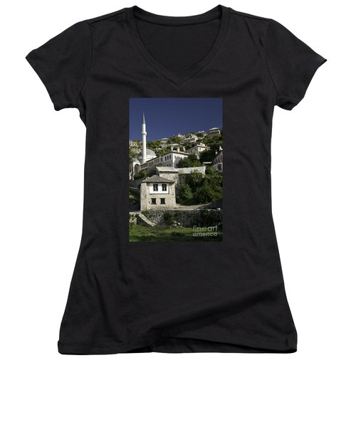 views of pocitelj in Bosnia Hercegovina with minaret bridge and river Women's V-Neck (Athletic Fit)