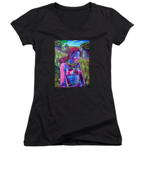 Women's V-Neck T-Shirt (Junior Cut) featuring the painting Village by Viktor Lazarev