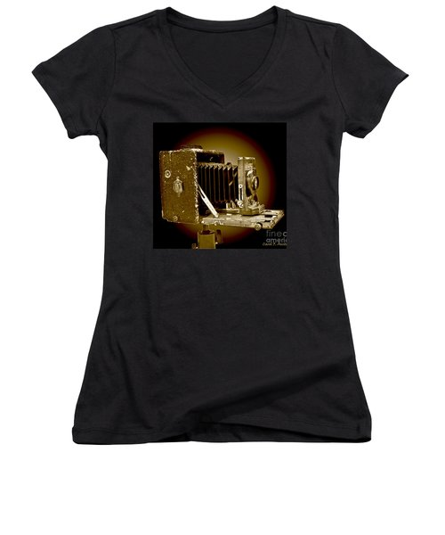 Vintage Camera In Sepia Tones Women's V-Neck T-Shirt (Junior Cut) by Carol F Austin