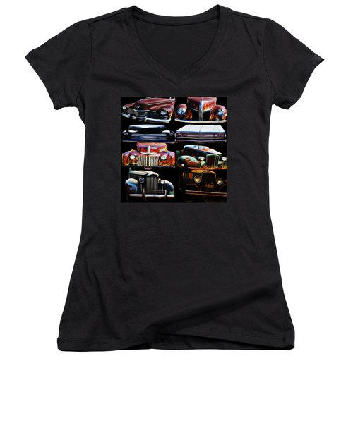 Vintage Cars Collage 2 Women's V-Neck T-Shirt (Junior Cut) by Cathy Anderson