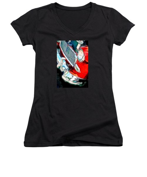 Vintage Chevy Art Alley Cat 3 Red Women's V-Neck