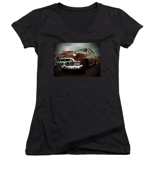Women's V-Neck T-Shirt (Junior Cut) featuring the photograph Vintage Chrysler by Gianfranco Weiss