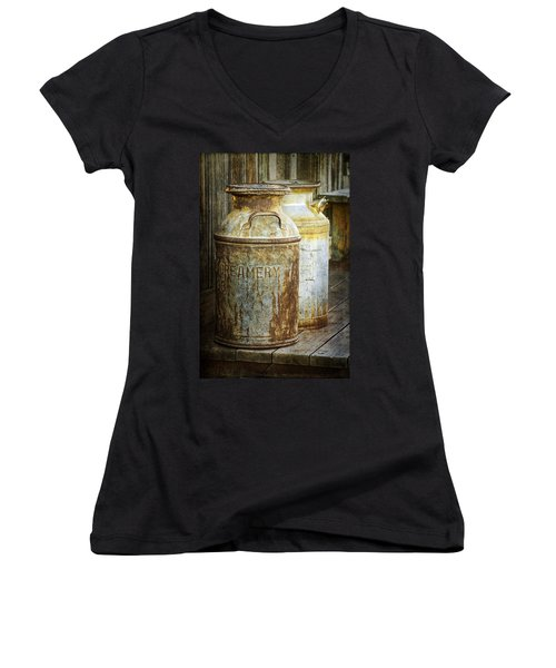 Vintage Creamery Cans In 1880 Town In South Dakota Women's V-Neck T-Shirt