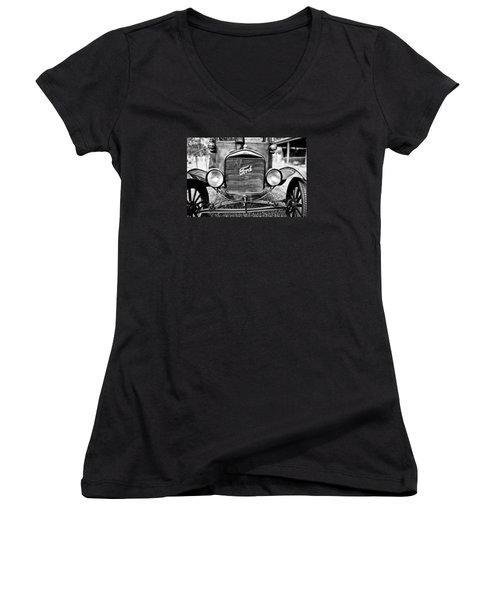 Vintage Ford In Black And White Women's V-Neck T-Shirt