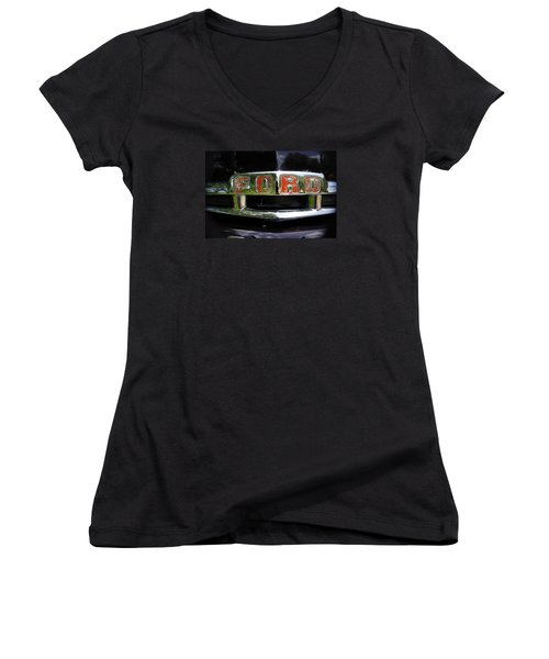 Vintage Ford Women's V-Neck T-Shirt (Junior Cut) by Laurie Perry