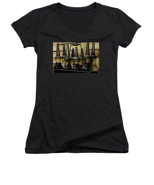 Vintage Glass  Motor Oil Bottles Women's V-Neck T-Shirt (Junior Cut) by Wilma  Birdwell