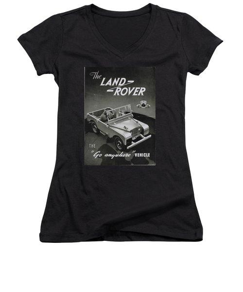 Vintage Land Rover Advert Women's V-Neck