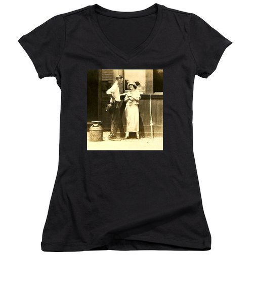 Women's V-Neck T-Shirt (Junior Cut) featuring the photograph New Orleans Vintage Love In Memory Of My Deceased Grandfather From Ireland I Never New by Michael Hoard