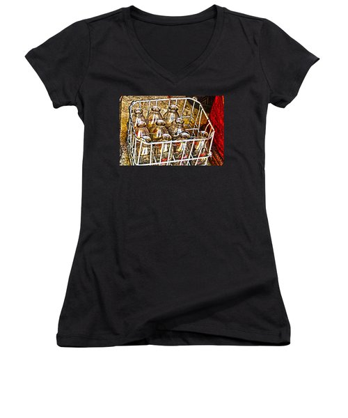 Women's V-Neck T-Shirt (Junior Cut) featuring the photograph Vintage Milk Bottles In A Crate   by Lesa Fine