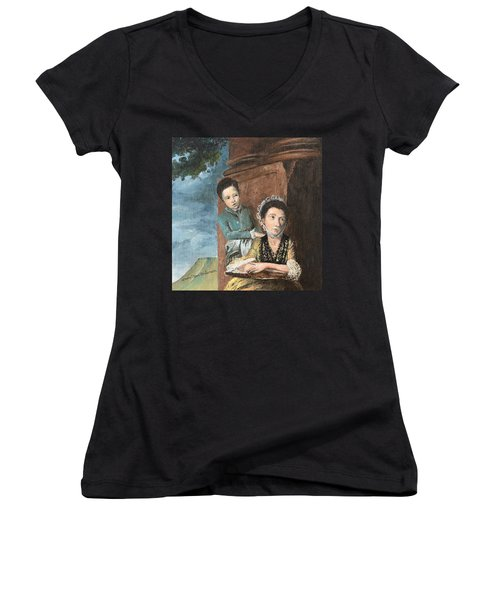 Vintage Mother And Son Women's V-Neck T-Shirt