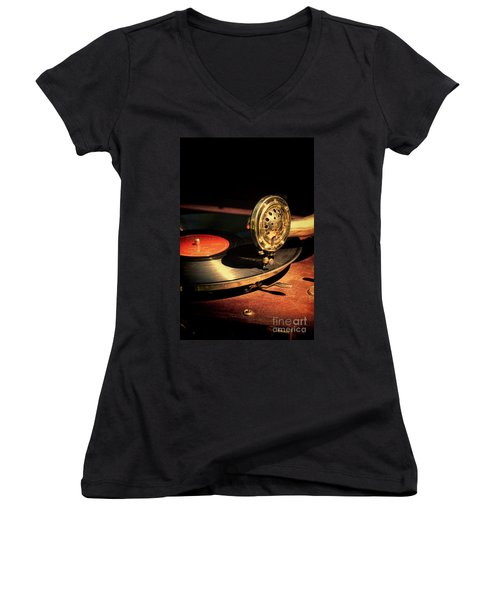 Vintage Record Player Women's V-Neck T-Shirt