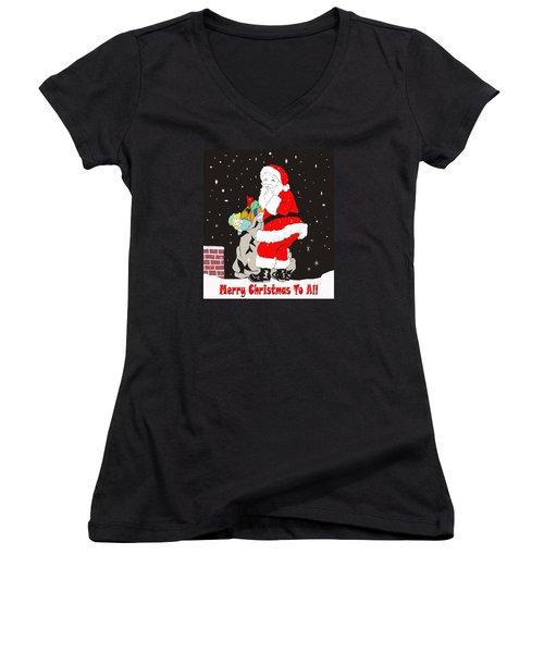 Vintage Santa Women's V-Neck T-Shirt (Junior Cut) by Paul Mashburn