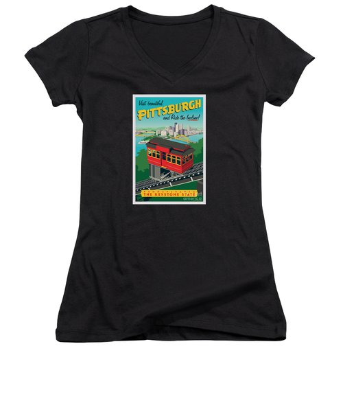 Vintage Style Pittsburgh Incline Travel Poster Women's V-Neck T-Shirt (Junior Cut) by Jim Zahniser