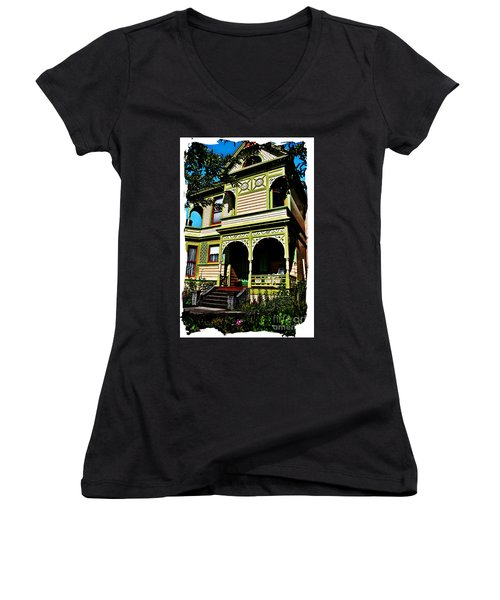 Vintage Victorian Home Watercolor Style Art Prints Women's V-Neck T-Shirt (Junior Cut) by Valerie Garner