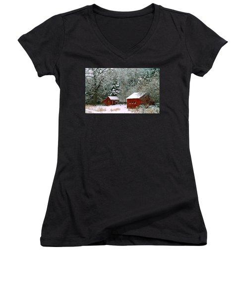 Vintage Winter Barn  Women's V-Neck T-Shirt