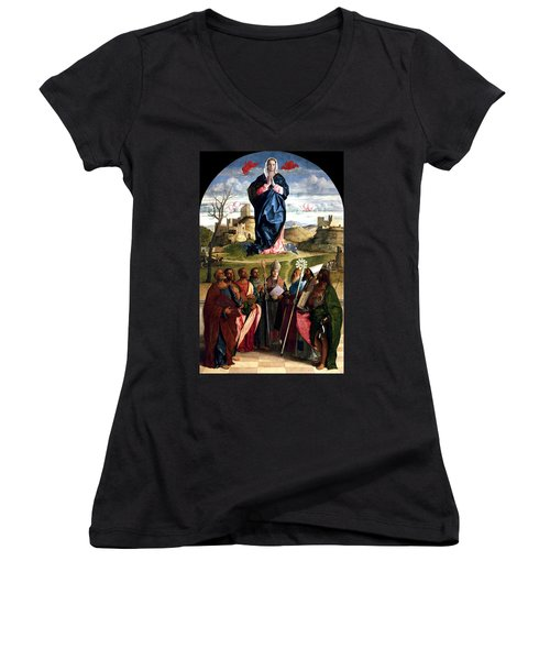 Virgin In Glory With Saints 1515 Giovanni Bellini Women's V-Neck T-Shirt (Junior Cut) by Karon Melillo DeVega