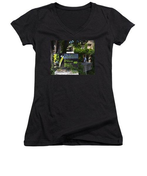 Women's V-Neck T-Shirt (Junior Cut) featuring the photograph Visite Du Moulin by Allen Sheffield