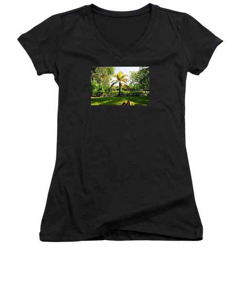 Women's V-Neck T-Shirt (Junior Cut) featuring the photograph Visiting A Mayan Trail by Kicking Bear  Productions