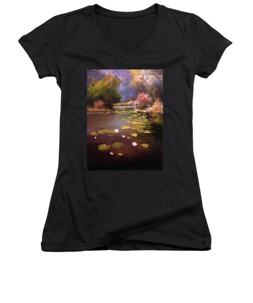 Women's V-Neck T-Shirt (Junior Cut) featuring the painting Voronezh River by Mikhail Savchenko