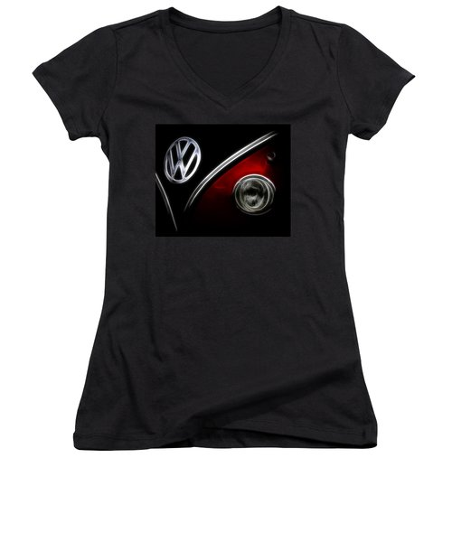 Vw Micro Bus Logo Women's V-Neck T-Shirt