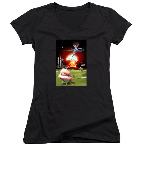 Women's V-Neck T-Shirt (Junior Cut) featuring the digital art Waffle House by Scott Ross