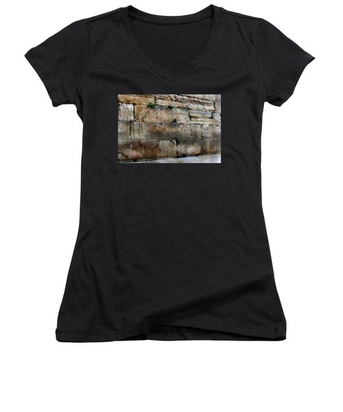Women's V-Neck T-Shirt (Junior Cut) featuring the photograph Wailing Wall In Israel by Doc Braham