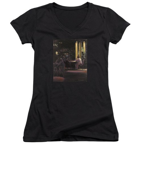 Waiting At The Night Cafe Women's V-Neck T-Shirt (Junior Cut) by Connie Schaertl