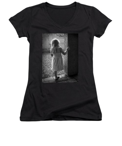 Women's V-Neck T-Shirt (Junior Cut) featuring the photograph Waiting For The Rain To End  by Lucinda Walter