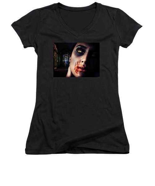 Waiting For You Women's V-Neck T-Shirt (Junior Cut) by Nathan Wright