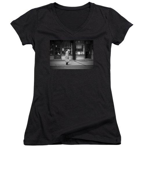 Walking Down The Street Women's V-Neck T-Shirt (Junior Cut) by Chevy Fleet