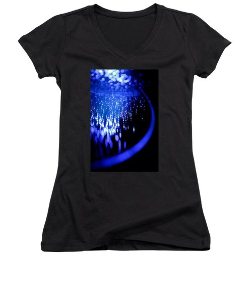 Women's V-Neck T-Shirt (Junior Cut) featuring the photograph Walking On The Moon by Dazzle Zazz