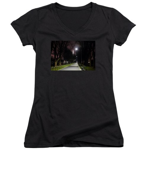 Walking Path Along The Reflecting Pool Women's V-Neck T-Shirt