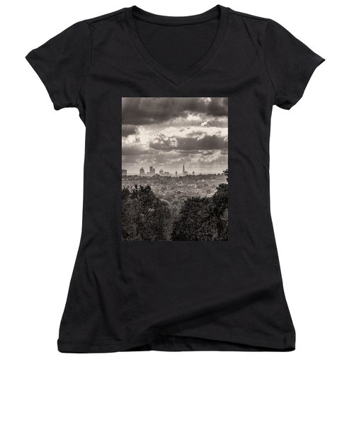 Walking The Sights Women's V-Neck T-Shirt (Junior Cut) by Lenny Carter