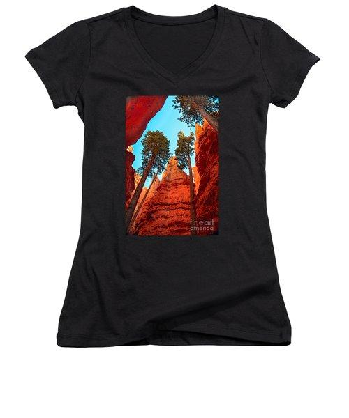 Wall Street Women's V-Neck T-Shirt (Junior Cut) by Robert Bales