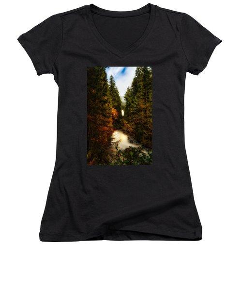 Wallace Fall North Fork Women's V-Neck T-Shirt (Junior Cut)