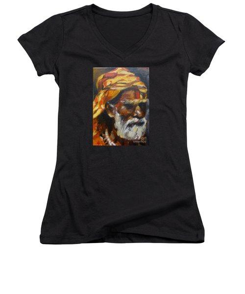 Wandering Sage Small Women's V-Neck T-Shirt (Junior Cut) by Mukta Gupta