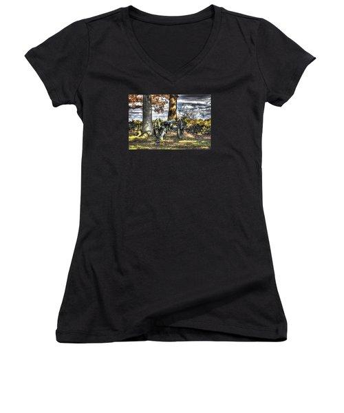 Women's V-Neck T-Shirt (Junior Cut) featuring the photograph War Thunder - Lane's Battalion Ross's Battery-b1 West Confederate Ave Gettysburg by Michael Mazaika