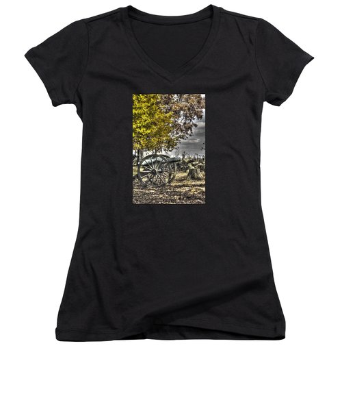 Women's V-Neck T-Shirt (Junior Cut) featuring the photograph War Thunder - The Purcell Artillery Mc Graw's Battery-a2 West Confederate Ave Gettysburg by Michael Mazaika