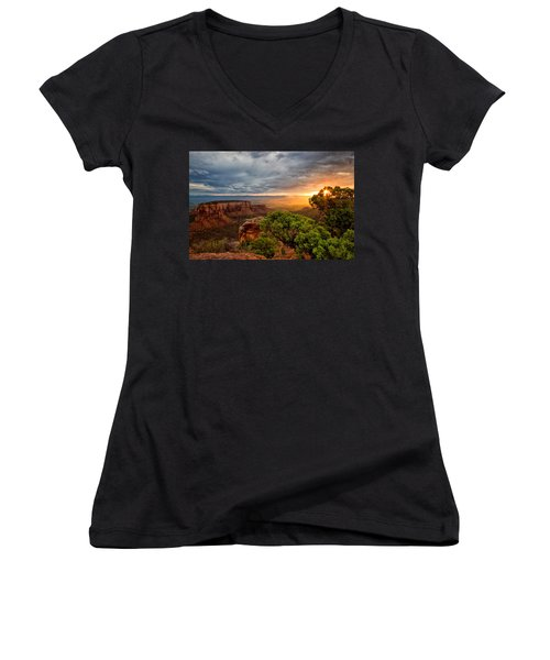 Warm Glow On The Monument Women's V-Neck