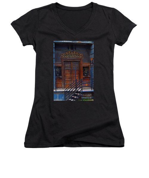 Warning Do Not Enter - Oil Painting Women's V-Neck T-Shirt (Junior Cut) by Liane Wright